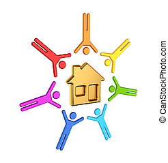 Colorful 3d small people around house icon.