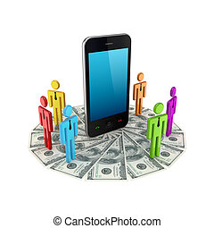 Colorful 3d small people around mobile phone.