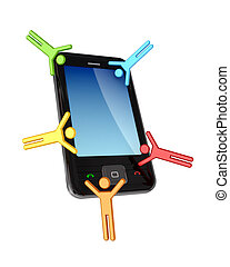 Colorful 3d small people around modern cellphone.