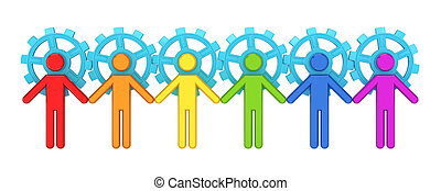 Colorful 3d small people merged with a blue gears.