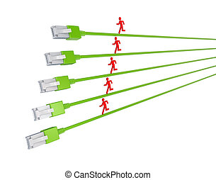 Colorful 3d small people running on a patchcords.