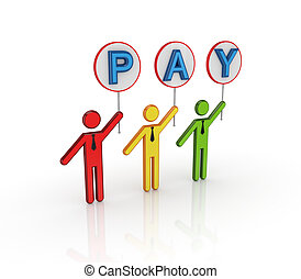 Colorful 3d small people with bunner PAY in hands.