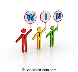 Colorful 3d small people with bunner WIN in hands.