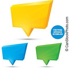 Colorful 3d speech bubbles . Vector illustration.