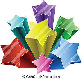 Colorful 3D star burst with white copy space.