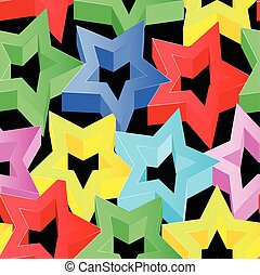 Colorful 3D stars on black seamless pattern