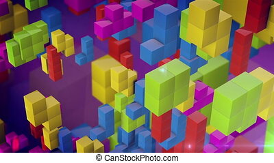 Colorful 3d tetris games blocks fall down on a pink...