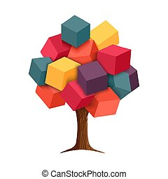 Colorful 3d tree geometric illustration concept