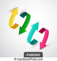 Colorful 3D Vector Arrows. Arrow Symbol Design.