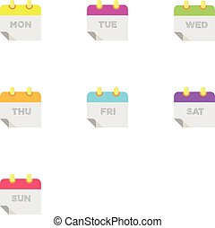 Colorful 7 Days of week flat icon set.