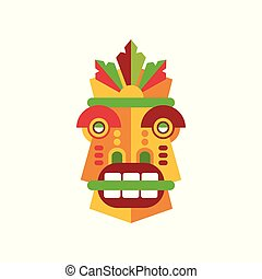 Colorful aborigine facial mask vector Illustration on a white background