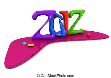 Colorful abstract 2012 calendar new year celebration 3d...