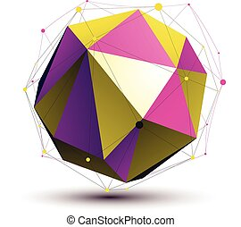 Colorful abstract 3D structure, gold and purple orbed vector network object. Complicated art deformed figure.