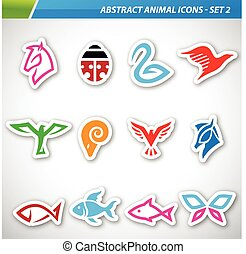 Colorful Abstract Animal Icons