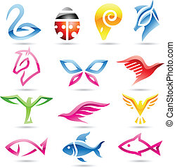 Colorful abstract animal icons - Vector illustration of ...