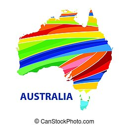 Colorful abstract Australia map vector