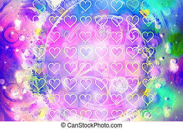 Colorful abstract background with heart pattern
