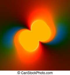 Colorful Abstract Background With Orange Fluorescent Centre...