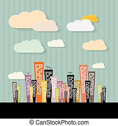 Colorful Abstract Buildings Illustration on Paper Retro Background