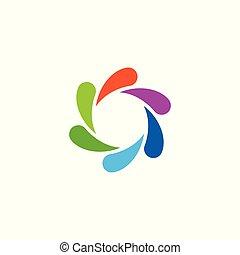 Colorful Abstract Circular Swirl Logo Round Shape