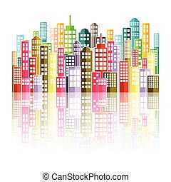 Colorful Abstract City Skyline.