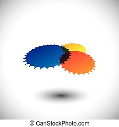 Colorful abstract cogwheels or gears in red, orange, yellow & blue. This graphic can represent team of people working together in sync, people unity, technology, etc