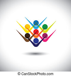 Colorful abstract concept vector happy excited people or children. This graphic illustration can also represent happy employees & staff, kids playing, elated friends, people partying, etc