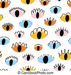 Colorful abstract eyes, vector seamless pattern