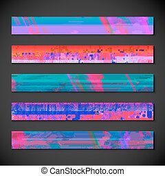 vector modern design vibrant colors horizontal leaderboard banners backgrounds templates collection isolated dark background