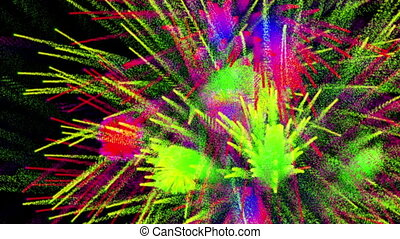 Colorful abstract fireworks on black bg, loop - Colorful...
