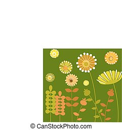 colorful abstract flower garden with green background-1