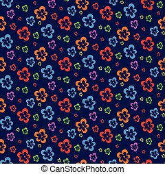 colorful abstract flowers dark seamless pattern