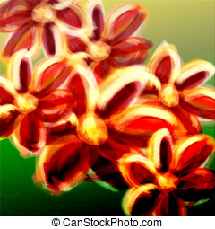 Colorful abstract flowers digital painting - Floral pattern...