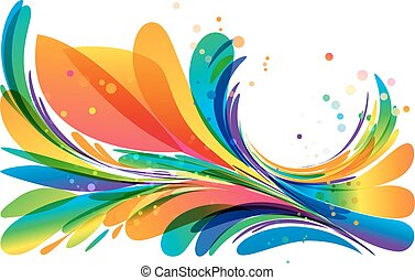 Colorful abstract frame element on white background
