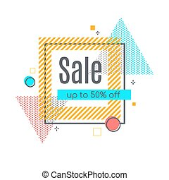 Colorful abstract frame for sale styled banner, label, tag.