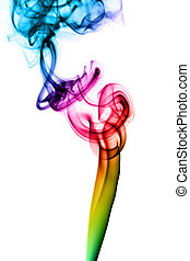 Colorful Abstract fume swirls on white