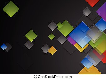 Colorful abstract glossy squares on black background