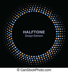 Colorful Abstract Halftone Design Element on black background