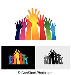 Colorful abstract hand vectors icons raised together showing unity