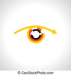 Colorful abstract human eye with futuristic arrows - concept vector.