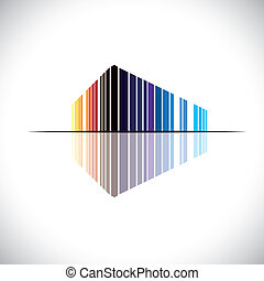 Colorful abstract icon of a commercial building architecture - vector graphic. This illustration of an modern office structure is in colors like red, orange, black, blue, etc