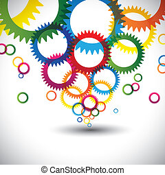 colorful abstract icons of cogwheel or gears - vector...