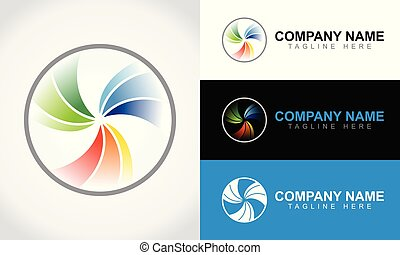 Colorful Abstract Lens Logo Design Template