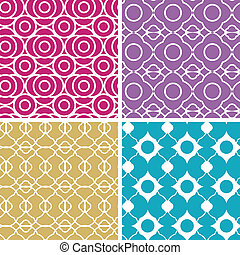 Colorful abstract lineart geometric seamless patterns set -...