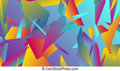 Colorful abstract low poly splinters video animation -...