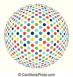 Colorful abstract mosaic sphere 3D vector background