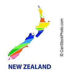 Colorful abstract New Zealand map vector