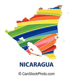 Colorful abstract nicaragua map vector.