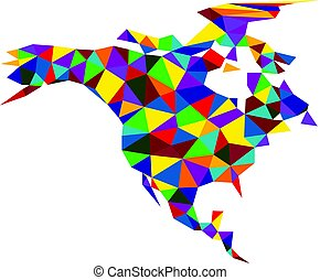 Colorful abstract North America map. - Colorful mosaic...