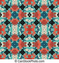 colorful abstract objects on blue background seamless vector pattern